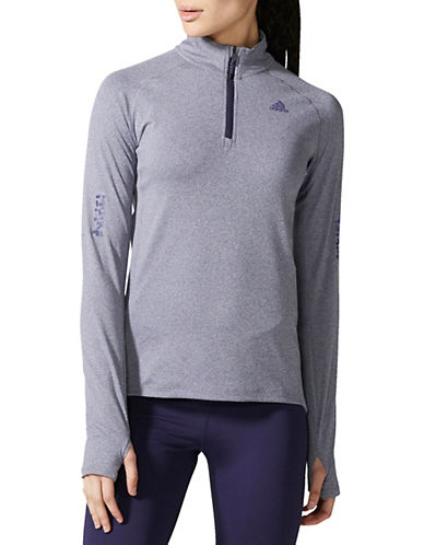 Adidas Half-Zip Sweater-GREY-X-Small