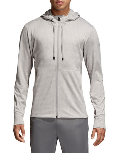 Adidas Textured Workout Hoodie-GREY-Medium