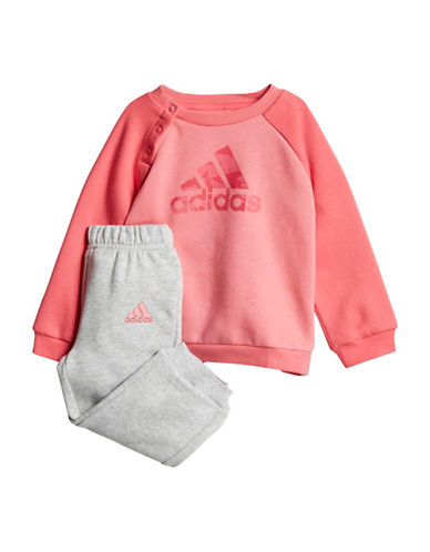 Adidas Logo Sweater and Jogger Pants Set-PINK-18 Months