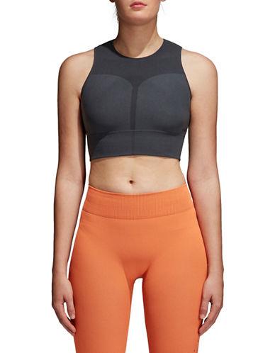 Adidas Warp Knit Training Crop Top-CARBON BLACK-Medium