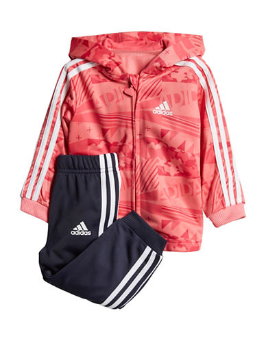 Adidas Printed Hoodie and Striped-Side Pants Set-PINK-9 Months