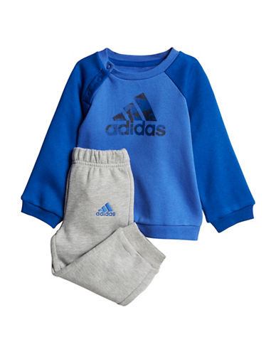 Adidas Logo Sweater and Jogger Pants Set-BLUE-18 Months