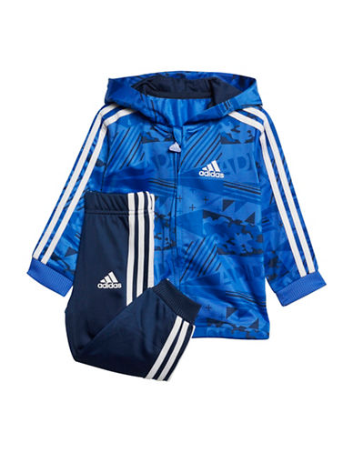 Adidas Printed Hoodie and Striped-Side Pants Set-BLUE-9 Months