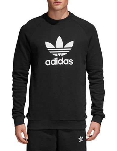 Adidas Originals Trefoil Warm-Up Cotton Sweatshirt-BLACK-Large