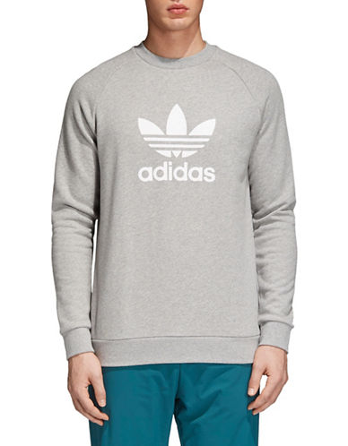 Adidas Originals Trefoil Warm-Up Cotton Sweatshirt-GREY-Large 89723118_GREY_Large