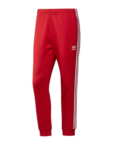 Adidas Originals Striped Panel Track Pants-RED-X-Large
