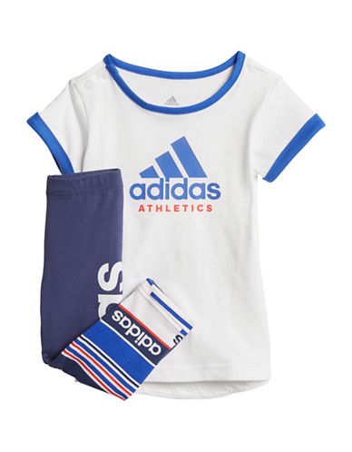 Adidas Logo Cotton Tee and Multi Stripe Pants Set-ASSORTED-24 Months