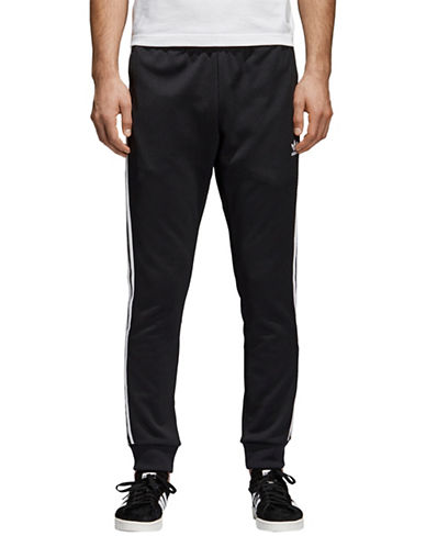 Adidas Originals Striped Panel Track Pants-BLACK-Small