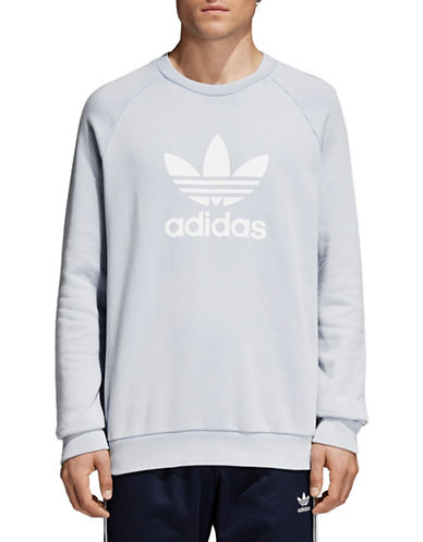 Adidas Originals Trefoil Warm-Up Cotton Sweatshirt-BLUE-Medium