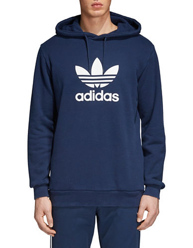Adidas Originals Trefoil Cotton Hoodie-NAVY-XX-Large