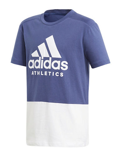 Adidas Short-Sleeve Cotton Tee-BLUE-11-12