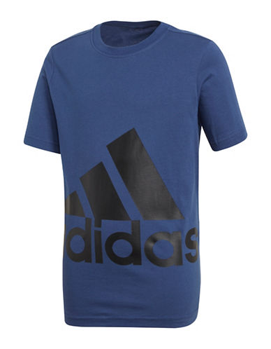 Adidas Short-Sleeve Cotton Tee-BLUE-16