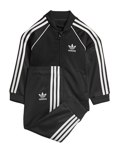 Adidas Classic Striped Jacket and Pants Set-BLACK-9 Months
