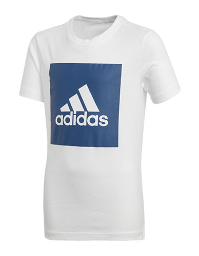 Adidas Short-Sleeve Cotton Tee-WHITE-9-10