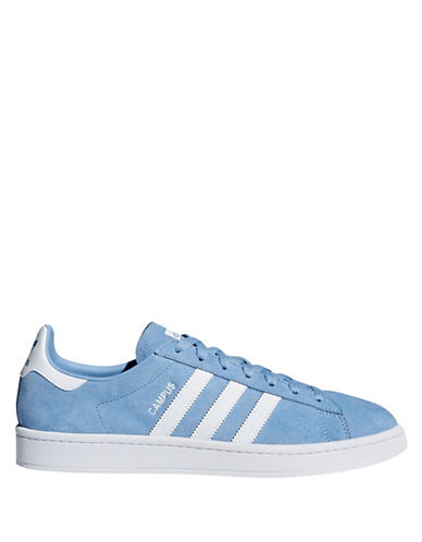 Adidas Womens Campus Leather Lace-Up Sneakers-ASH BLUE-9.5