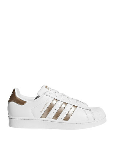 Adidas Womens Superstar Leather Low Top Sneakers-GOLD-9