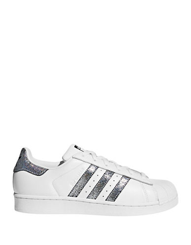 Adidas Womens Superstar Leather Low Top Sneakers-SILVER-9.5