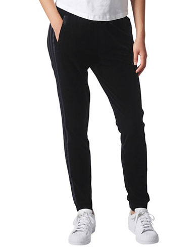 Adidas Velvet Drawstring Pants-BLACK-Medium