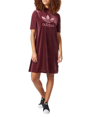 Adidas Velvet Mini Dress-RED-Medium