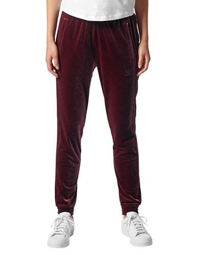 Adidas Velvet Jogging Pants-RED-X-Large