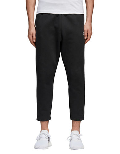 Adidas Originals Cropped Straight Leg Sweatpants-BLACK-Small