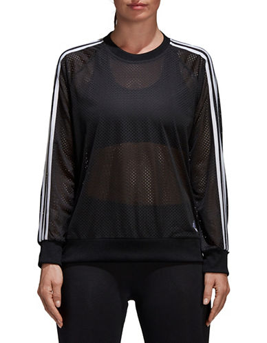 Adidas Mesh Striped Sweatshirt-BLACK-X-Large 89747483_BLACK_X-Large