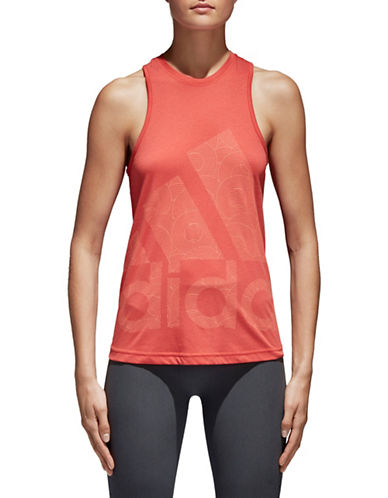 Adidas Climalite Logo Tank Top-RED-Large