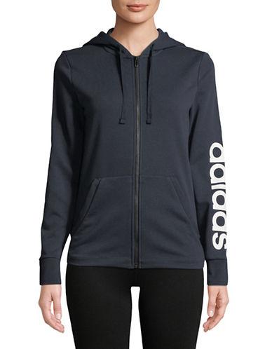 Adidas Zip Long-Sleeve Hoodie-BLACK-Medium