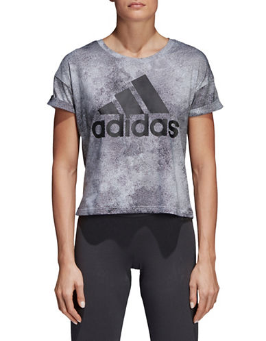 Adidas Essentials Allover Print Crop Top-GREY-X-Small 90058767_GREY_X-Small