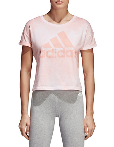Adidas Essentials Allover Print Crop Top-WHITE/PINK-Large 90058765_WHITE/PINK_Large
