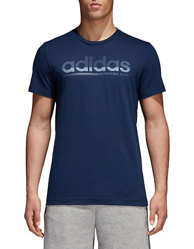 Adidas Fading Linear Cotton T-Shirt-NAVY-Medium 90077330_NAVY_Medium