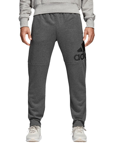Adidas Essentials Logo French Terry Pants-GREY-Medium