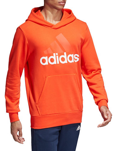 Adidas Essentials Linear Pullover Hoodie-RED/WHITE-Small