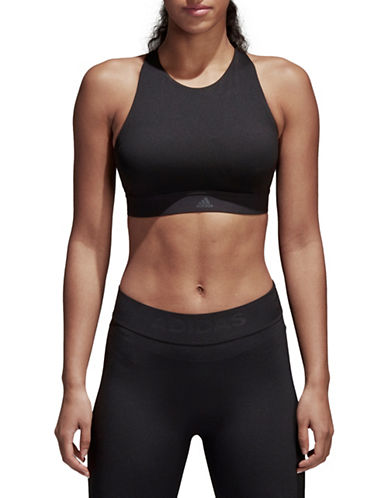 Adidas Halter Sports Bra-BLACK-Large C/D