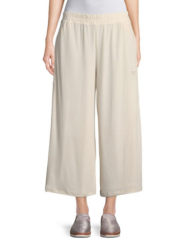 Adidas Originals Ribbed Wide-Leg Pants-BEIGE-Small