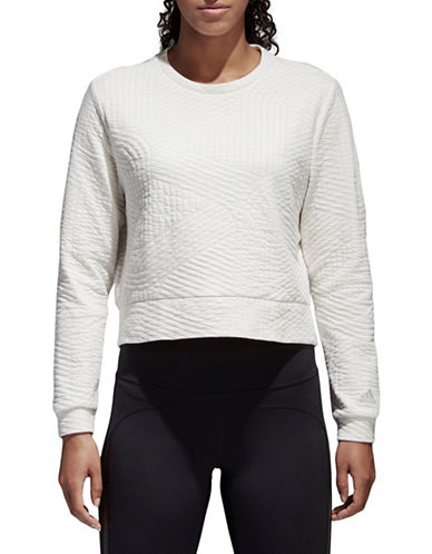 Adidas Climalite Performance Sweatshirt-CHALK WHITE-Small