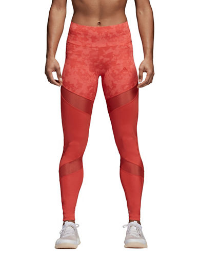 Adidas Printed Mesh-Panel Tights-SCARLET-X-Large