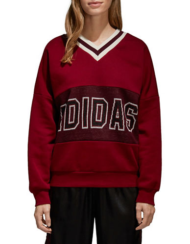 Adidas Originals Adibreak V-Neck Sweater-BURGUNDY-X-Small