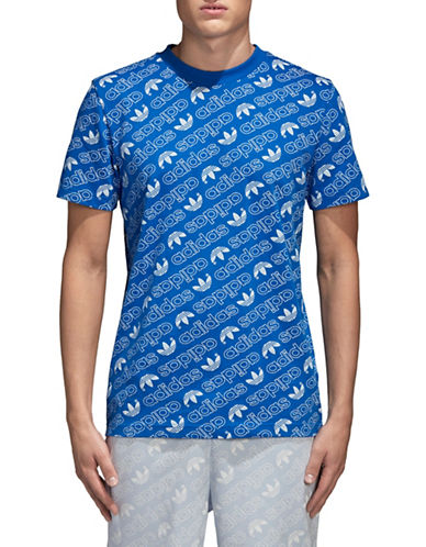 Adidas Originals Monogram Cotton Tee-BLUE-Small 89736613_BLUE_Small