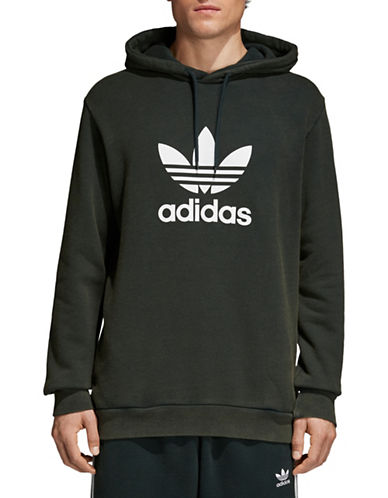 Adidas Originals Trefoil Warm-Up Cotton Hoodie-GREEN-XX-Large