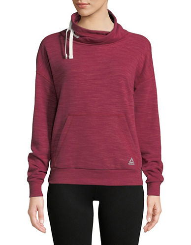 Reebok El Marble Cowl Neck Sweater-RED-Small