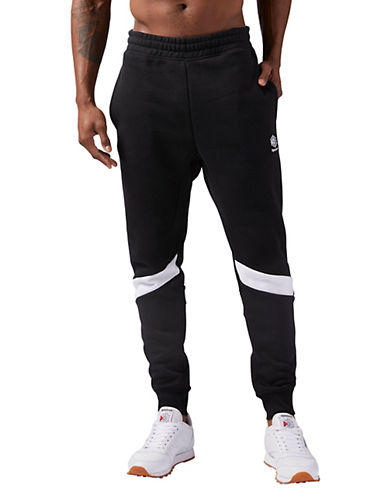 Reebok Colourblock Fleece Jogger Pants-BLACK-Large 90058494_BLACK_Large