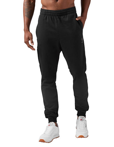 Reebok Pull-On Cotton Jogger Pants-BLACK-X-Large
