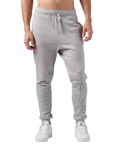 Reebok Elements Big Logo Fleece Jogger Pants-GREY-Large