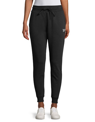 Reebok Logo Cotton Jogger Pants-BLACK-Small
