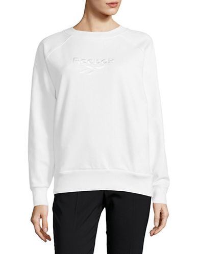 Reebok Cotton Cover Up Sweatshirt-WHITE-Small