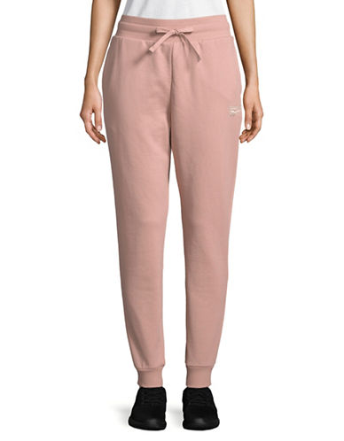Reebok Drawstring Cotton Jogger Pants-PINK-Large