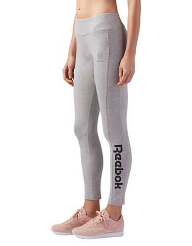Reebok Classic Heathered Leggings-GREY-Large