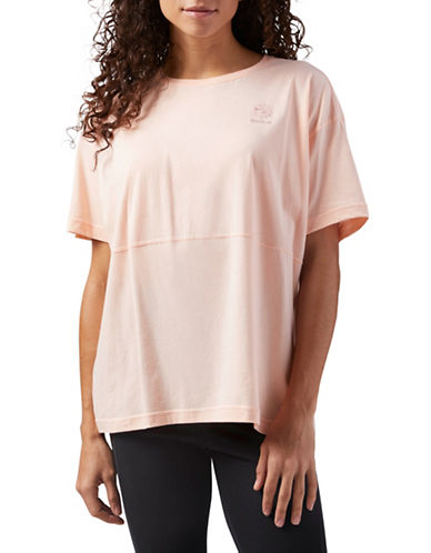 Reebok Classics Elevated Short-Sleeve Cotton Tee-PINK-Large 89905078_PINK_Large