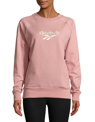 Reebok Crew Neck Cotton Sweater-PINK-Small